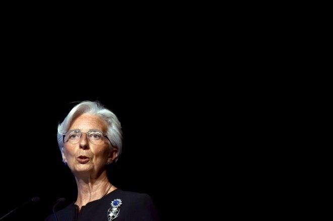 Christine Lagarde, presidenta del FMI en una conferencia en Bruselas