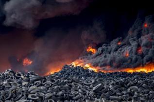Vista del incendio de Seseña.