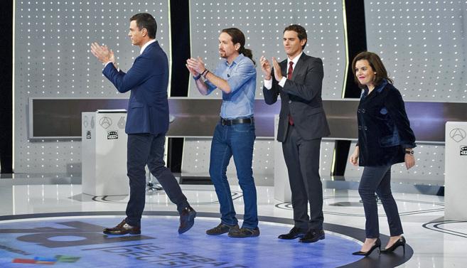 Pedro Sánchez, Pablo Iglesias, Albert Rivera y Soraya Sáenz de...