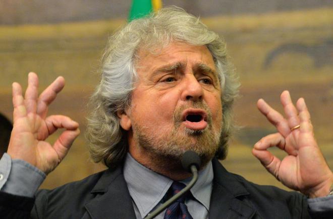 Imagen de archivo de Beppe Grillo durante una rueda de prensa.