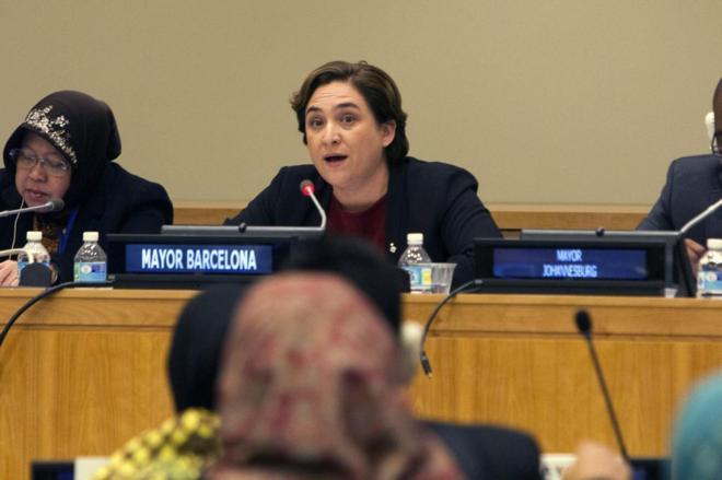 Ada Colau, durante su intervención en la sede de la ONU en Nueva...