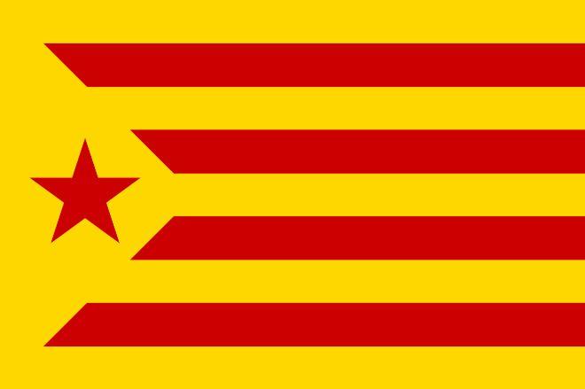 0bfd87cdf7e66 ... el mismo amarillo del resto de la bandera y pinta de rojo la estrella.  Esta versión se vincula al ala más izquierdista del movimiento  independentista.