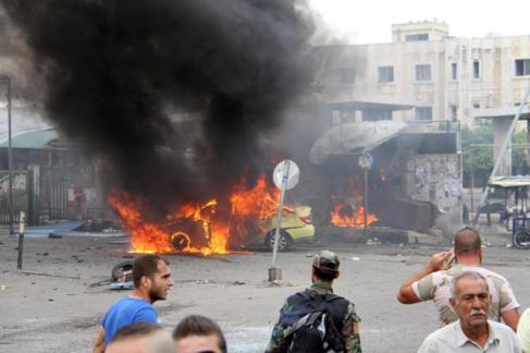 Uno de los coches bomba que ha explotado en la ciudad de Tartus, en...
