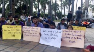 Manifestación de refugiados sirios en Melilla en octubre de 2015