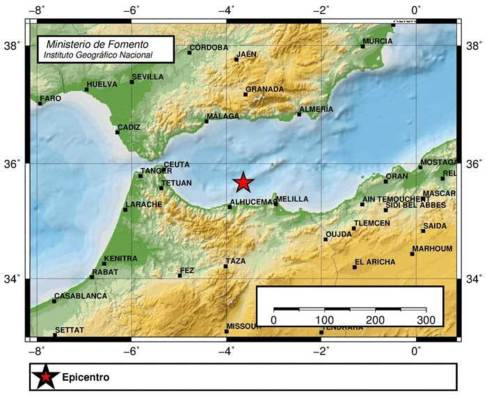 Localización de un seísmo de magnitud 2,7 registrado en el Mar de...