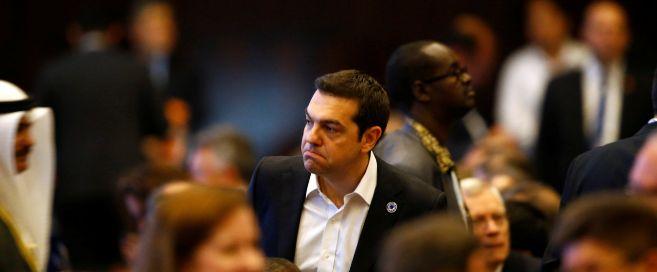 El primer ministro de Grecia, Alexis Tsipras, durante la cumbre...