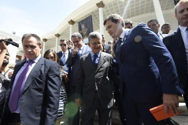 Albert Rivera  junto al presidente de la Asamblea Nacional de...