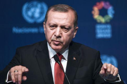 El presidente de Turquía, Tayyip Erdogan, durante una conferencia de...