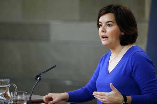 Soraya Sáenz de Santamaría, en la rueda de prensa celebrada hoy en...
