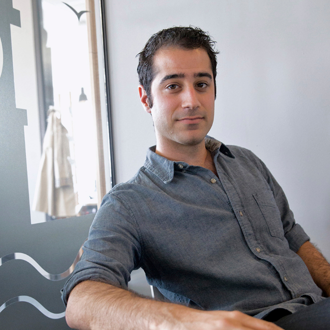 Kayvon Beykpour, founder and CEO of Periscope, sits in an office of...