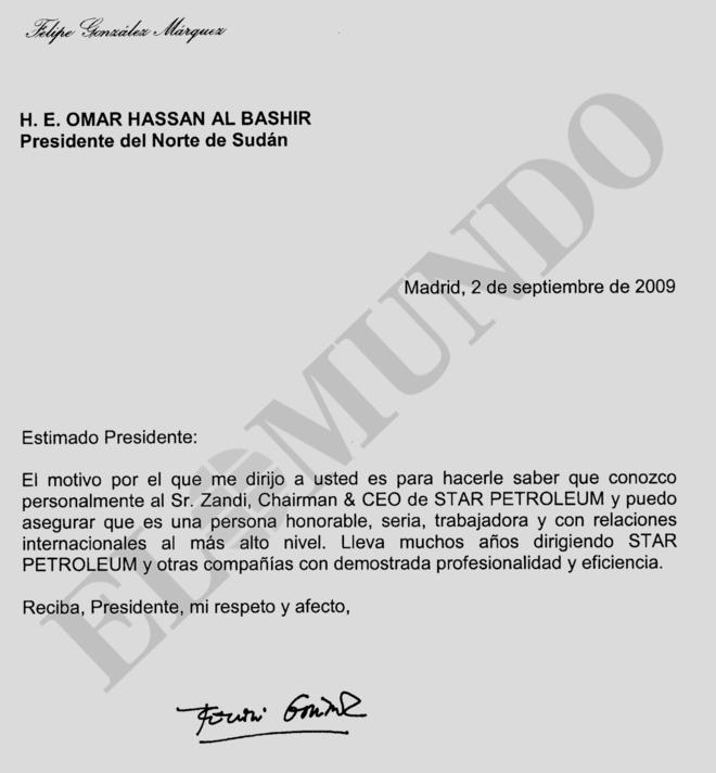 Reproducción de la carta de recomendación firmada por Felipe...