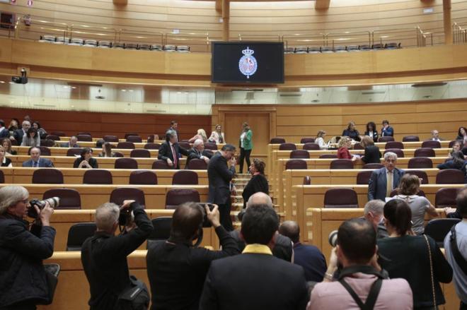Los senadores Xavier García Albiol y Rita Barberá, en una sesión de...
