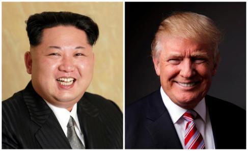 Una combinación de fotos de Kim Jong-un y Donald Trump.
