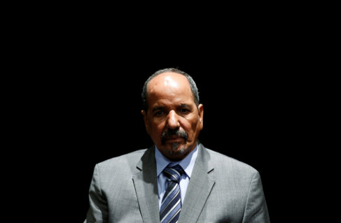 Mohamed Abdelaziz, durante una rueda de prensa en Madrid, en 2014
