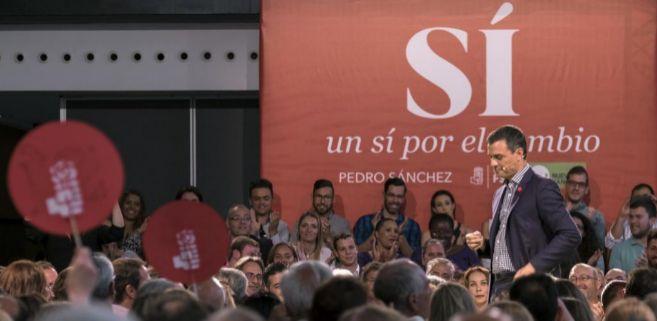 Pedro Sánchez durante el acto de precampaña que los socialistas de...
