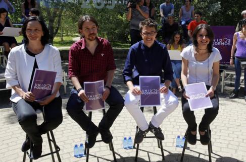 Bescansa, Iglesias, Errejón y Montero en la presentación del logo.