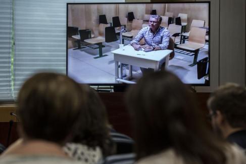Francisco Granados, declarando a través de videoconferencia desde la...