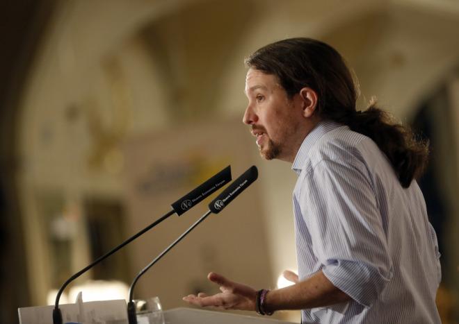 Pablo Iglesias, durante su intervención en el desayuno informativo de...