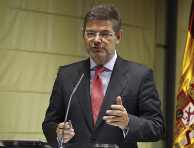 El ministro de Justicia en funciones, Rafael Catalá, comparece en la...