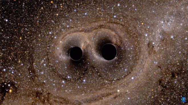 Recreación de dos agujeros negros a punto de fusionarse.
