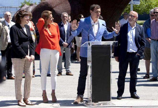 Albert Rivera, el lunes, en un acto de Ciudadanos en Pontevedra.