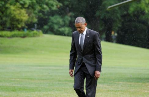 El presidente de Estados Unidos, Barack Obama, en los jadrines de la...