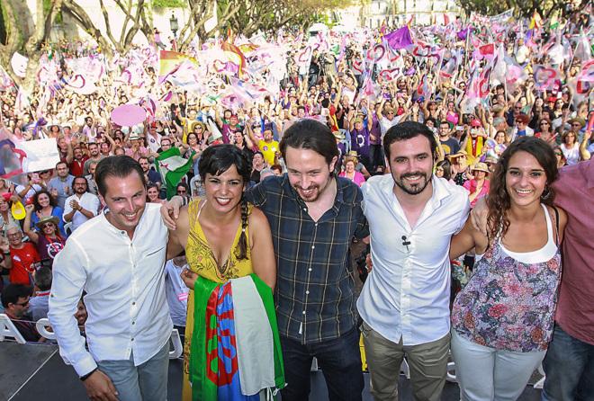 Teresa Rodríguez, Pablo Iglesias y Alberto Garzón, en un acto de...