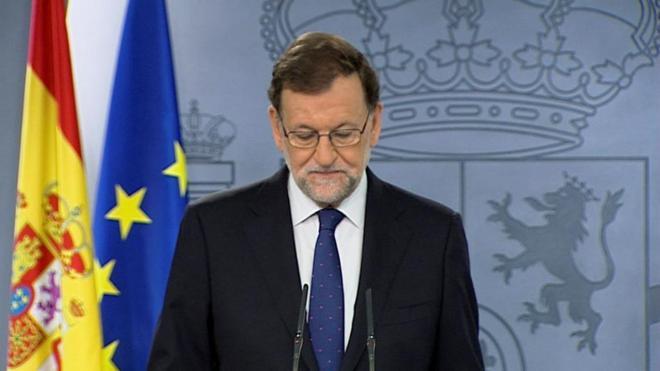 El presidente del Gobierno en funciones, Mariano Rajoy, durante la...