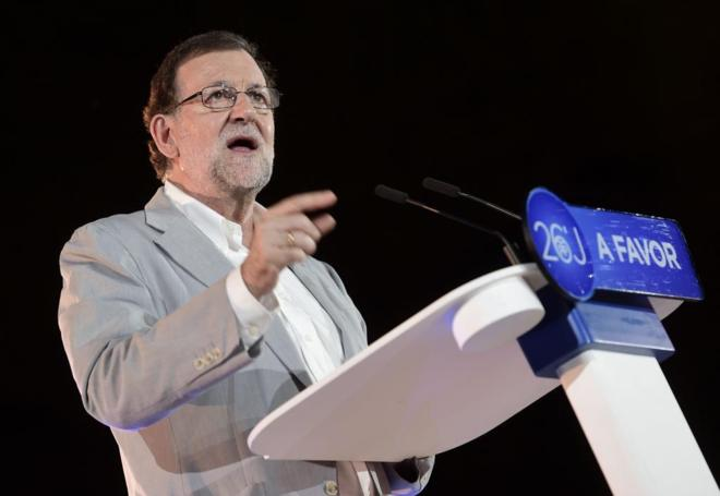 Mariano Rajoy, durante el mitin de cierre de campaña del PP en...