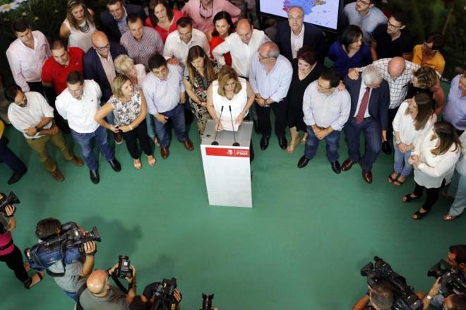 Susana Díaz en la sede del PSOE-A, durante su intervención el lunes...