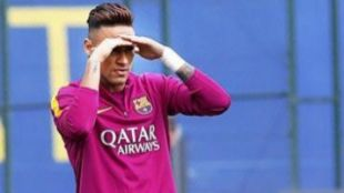 Neymar, en un entrenamiento con el Barcelona.