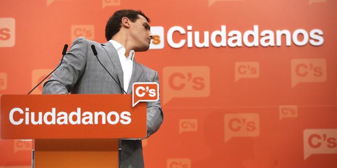 Albert Rivera, presidente de Ciudadanos, durante una rueda de prensa...