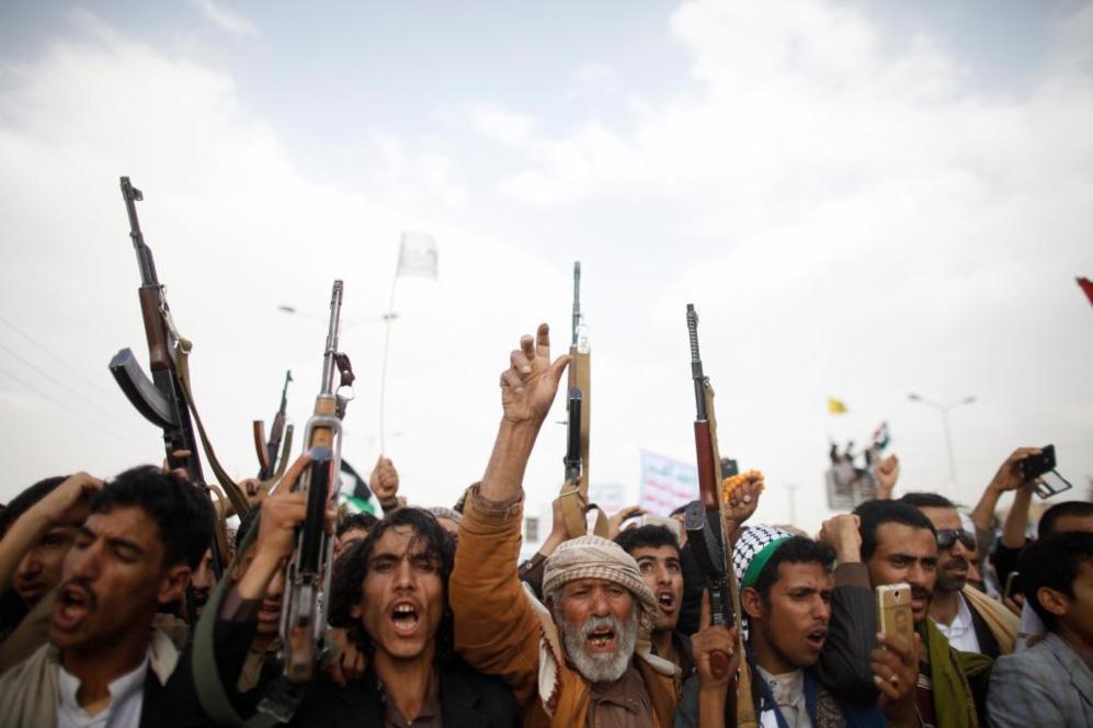Seguidores del movimiento 'Houthi' el Día de Jerusalén, en Sanaa,...