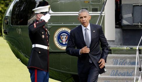 Barack Obama regresa a la Casa Blanca en Washington, tras visitar...