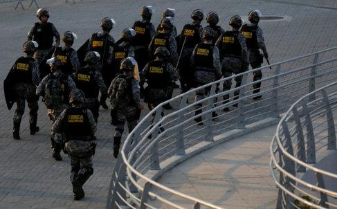 Miembros de la Fuerza Nacional, en el Parque Olímpico de Rio de...