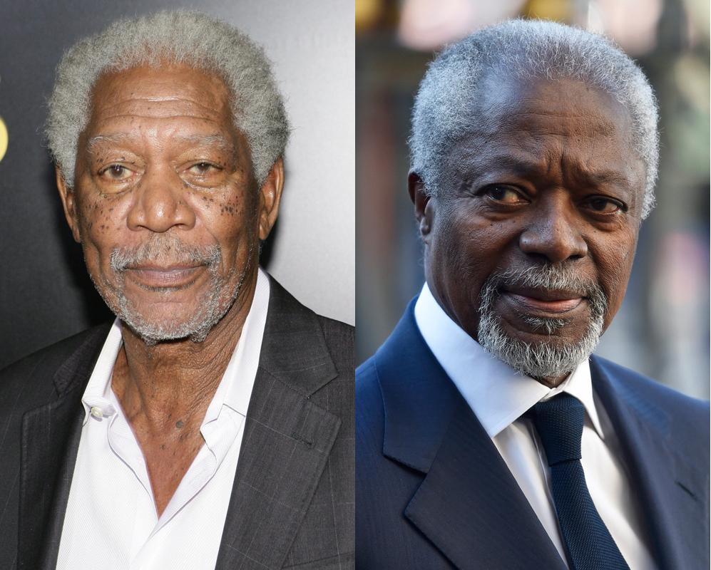 Kofi Annan y Morgan Freeman. Secretario General de Naciones Unidas por...