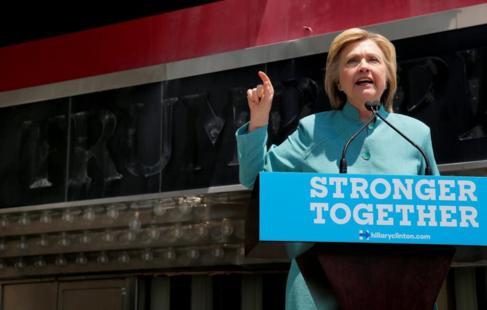 La candidata Hillary Clinton durante un mitin en Atlantic City este...