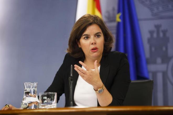 Soraya Sáenz de Santamaría, en rueda de prensa tras el Consejo de...