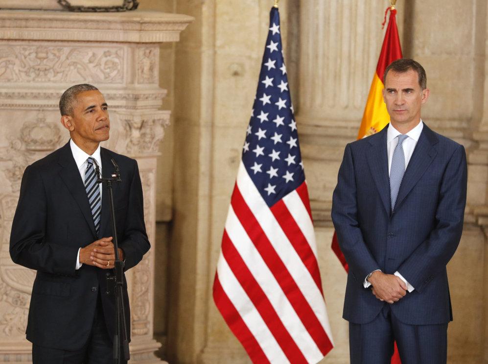 Barack Obama pronuncia unas palabras en el Palacio Real.
