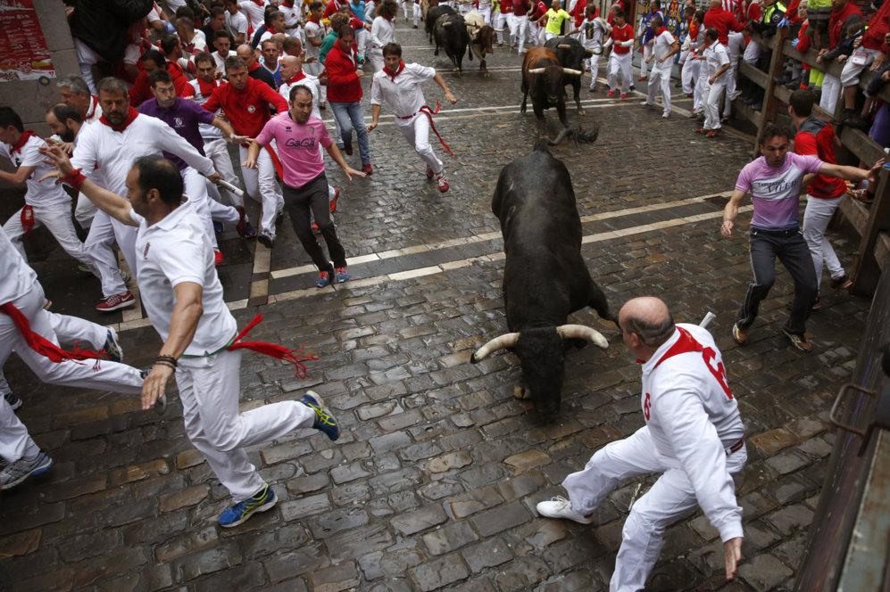 Los toros de Núñez del Cuvillo han protagonizado un encierro rápido...