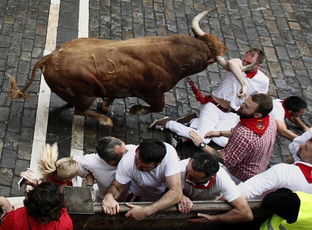Un mozo es arrastrado por uno de los toros de Núñez del Cuvillo