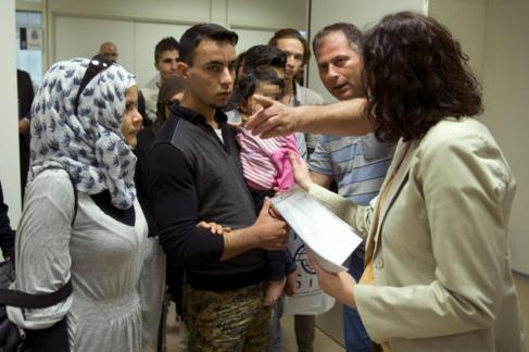 Refugiados sirios e iraquíes llegados a España en mayo.