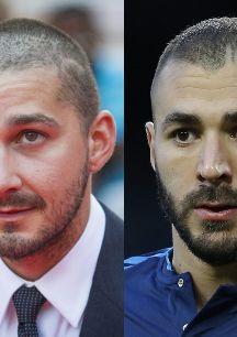 Shia LaBeouf y Karim Benzema. Uno te sale futbolista y el otro actor....