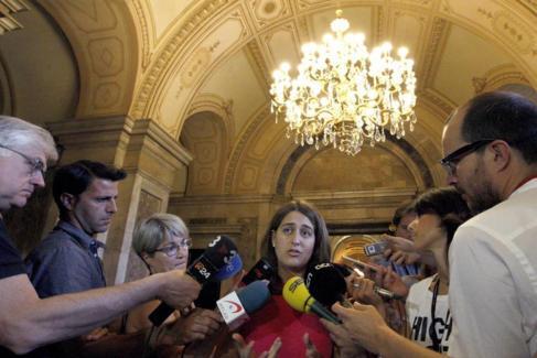 Marta Pascal, portavoz de CDC, en rueda de prensa en el Parlament.