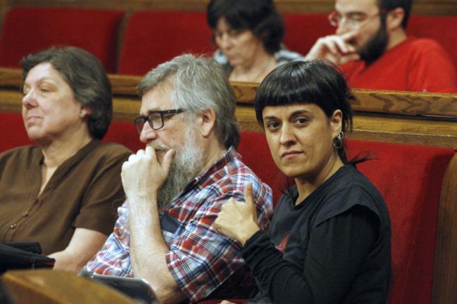 La diputada de la CUP, Anna Gabriel, en el Parlament.