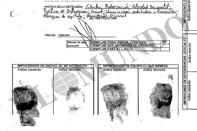 Impresiones dactilares de Alfonso Rus tras ser detenido por la UCO.