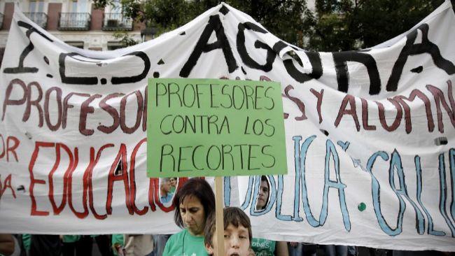 Detalle de una de las manifestaciones de profesores por los recortes...