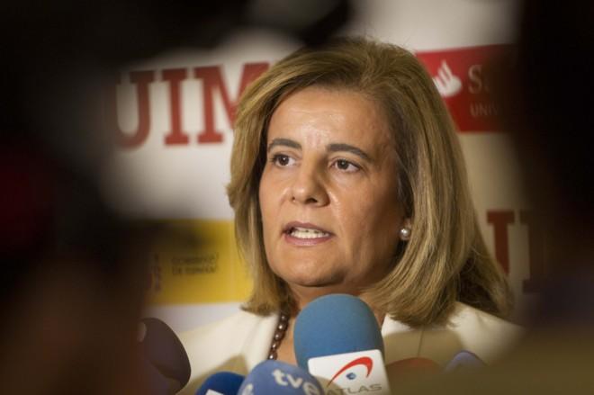 La ministra de Empleo, Fátima Báñez, esta mañana en Santander.