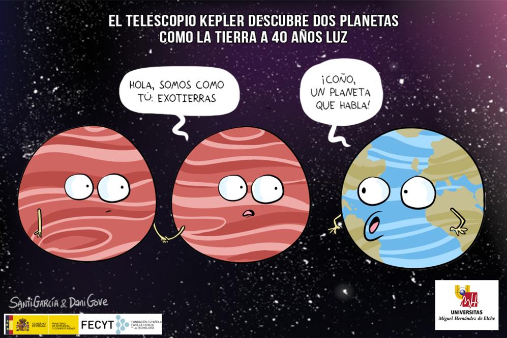 El telescopio espacial Kepler no hace más que descubrirnos el Universo y, sobre todo, planetas de otros sistemas estelares. Esta semana ha descubierto 104 exoplanetas nuevos, y así lleva más de 2.000. Si estos planetas están a una distancia concreta de la estrella alrededor de la que orbitan se llaman exotierras, planetas con las condiciones para albergar vida, en la zona de habitabilidad. Hace semanas descubrieron dos planetas como la Tierra a unos 40 años luz que orbitan alrededor de la estrella enana TRAPPIST-1. Un equipo de astrónomos dirigido por Michaël Gillon del Instituto de Astrofísica y Geofísica en la Universidad de Lieja, en Bélgica, mediante la utilización de la fotometría de tránsito, publicó sus resultados en mayo de 2016, en la revista Nature. Un año en el planeta más cercano pasa en sólo 1,5 días terrestres, el segundo es de 2,4 días terrestres y hay un tercer planeta que no es seguro de momento. A 40 años solamente, media vida. Igual algún día este descubrimiento nos podría salvar la vida...
