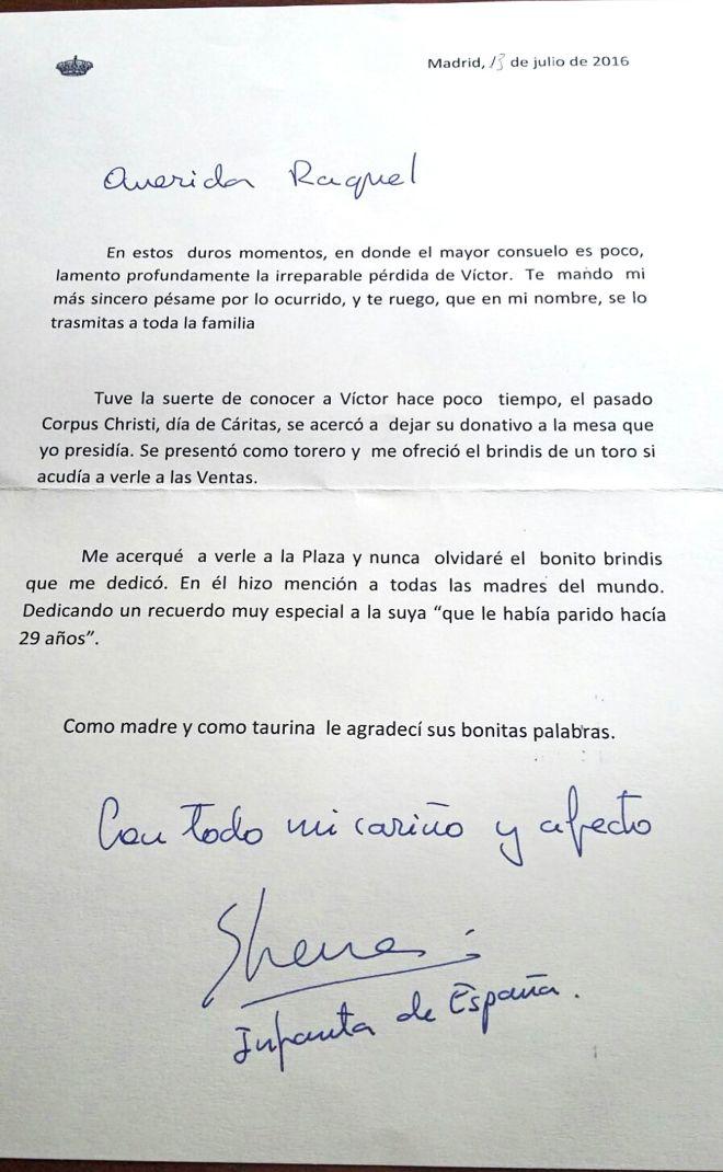 La Emotiva Carta De La Infanta Elena A La Viuda De Víctor Barrio
